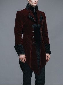 Gothic Carved Button Black Embroidered Collar Red Velveteen Dovetail Men Coat