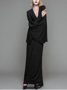 Bat-Sleeve Deep V-Neck Rose Button Black Gothic Maxi Dress
