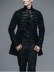 Black Fake Two Pieces Embroidered Gothic Patterned Hook Clasp Collar Leather Cuff Velvet Men Coat