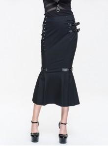 Leather Loop Rivet Frilly Hem Black Punk Fishtail Midi Skirt