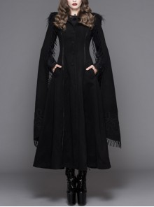 Gothic Hand-Embroidered Shawl Black Double-Sided Tweed Hooded Coat