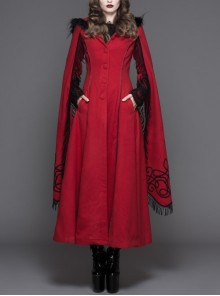Gothic Hand-Embroidered Shawl Red Double-Sided Tweed Hooded Coat