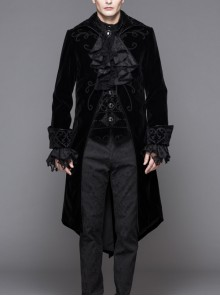 Men Glass Patterned Button Gothic Hand-Embroidered Fake Two Pieces Black Velvet Coats