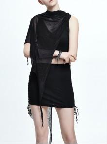 Spider Web Jacquard Mesh Bat Wings Shawl Side Lace-Up Black Punk Dress