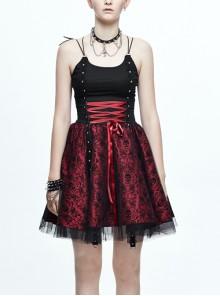 Black Twill Splice Wine Red Skull Flocking Rivet Lace Waist Lace-Up Punk Sling Princess Dress