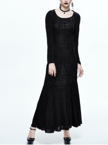 Hooded Knitted Flared Sleeves Fishtail Black Gothic Maxi Dress