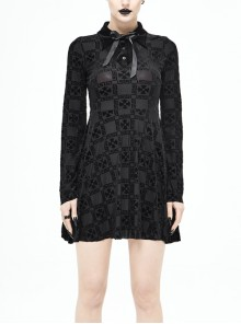 Cross Pattern Ribbons Knot Collar Long Sleeve Black Gothic Knitted Dress