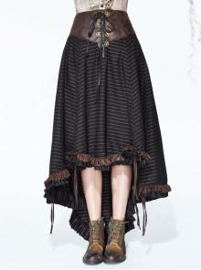 Brown Striped Gear Metal Piece Lace-Up Rear Long Frilly Hem Punk Half Skirt