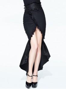 Tight-Fitting Waist Hasp Lace-Up Short Front Long Back Black Punk Half Split Skirt