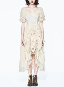 Creamy White Coarse Yarn Lace Cuff Hem Drawstring Vintage Punk Dress