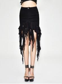 Irregular Mesh Strip Rough Selvedge Hem Black Punk Package Hip Half Skirt