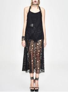 Black Hanging Neck Broken Holes Mesh Halter Punk Long Dress