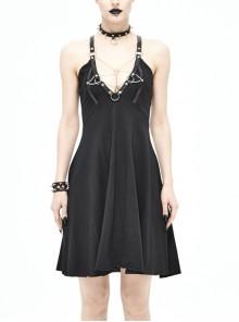 Deep V-Neck Inverted Five-Pointed Star Chains Leather Hasp Backless Black Punk Halter Dress