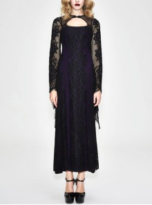 Purple Knitted Black Flower Lace Collar Chinese Frog Button Backless Long Sleeves Gothic Dress