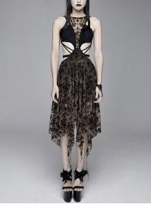 Flocking Print Mesh Waist Side Elastic Lace-Up Sharp Hem Brown Gothic Sleeveless Dress
