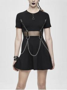 Black Knitted Leather Hasp Waist Spliced Mesh Belt Loop Chain Punk Short Dress