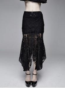Court Flocking Printed Lace Irregular Hem Black Gothic Package Hip Fishtail Skirt