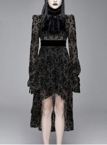 Flocking Print Splice Velvet Ribbon Drawstring Cuff Black Gothic Long Sleeves Dress