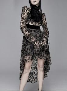 Flocking Print Splice Velvet High Waist Ribbon Drawstring Cuff Brown Gothic Long Sleeves Dress
