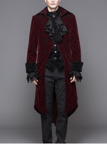Men Glass Patterned Button Gothic Black Hand-Embroidered Fake Two Pieces Red Velvet Coats