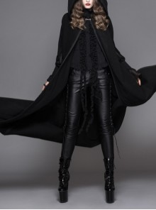 Gothic Detachable Feather 3d Ribbons Decorated Woollen Hooded Black Big Cape