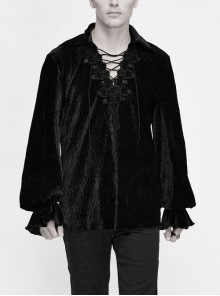 Chest Lace Lace-Up Flower Spikes Lantern Long Sleeve Pleated Velvet Black Gothic Shirt