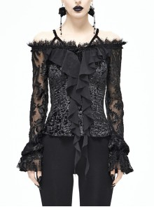 Off-Shoulder Lace Long Sleeve Chest Frilly Rose Button Black Gothic Blouse