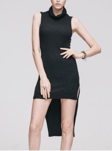 Collar Ribbed Sleeveless One-Side Waist Pins Slits Black Punk Dress