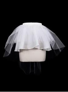 White Hard Mesh Short Front Long Gothic Back Short Underskirt