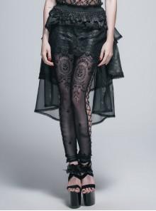 Lace Organza Puffy Black Gothic Half Skirt
