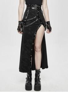 Glazed Leather Loop Side High Slit Japanese Black Punk Half Skirt