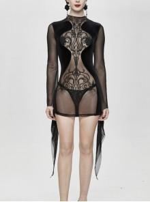 Translucent Embroidered Splice Velvet Big Flared Sleeves Black Gothic Short Dress