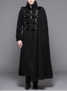 Men Punk Removable One-Sided Shawl Leaf Pin Long Black Double-Sided Woollen Coat