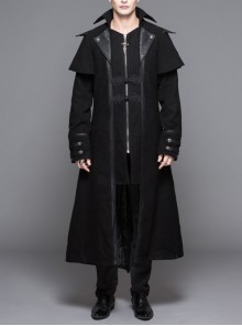 Men Gothic Pattern Leather Fake Two Pieces Double-Sided Woollen Split Design Black Coats