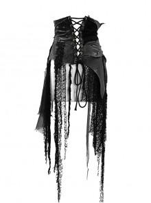 Leather Patchwork Vintage Distressed Belted Irregularly Lace Hem Black Punk Corset