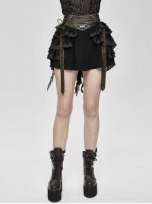 Brown Striped Leather Belt Lace-Up Asymmetric Lace Hem Black Punk Skirt