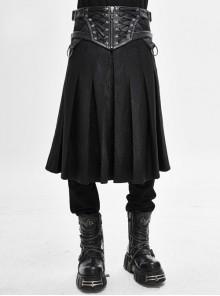Mistflower Leather Metal Buckle Lace-Up Black Punk Pleated Kilt
