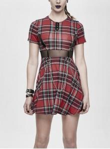 The Scottish Red Plaid Waist Splice Mesh Hanging Chain Mid-Length Punk Dress