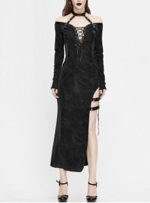 Deep V-Neck Lace-Up Choker Long Sleeve Halter Side Slit Long Black Punk Dress