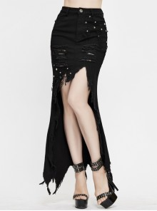 Black Twill Front Short Long Back Broken Holes Mesh Rivet Fishtail Punk Half Skirt