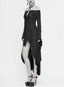 Black Off-Shoulder Chest Hollow Lace-Up Long Sleeve Irregular Hem Gothic Dress