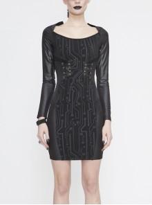 Black Circuit Board Pattern Printed Fake Girdle Lace-Up Long Sleeve Punk Tight Dress