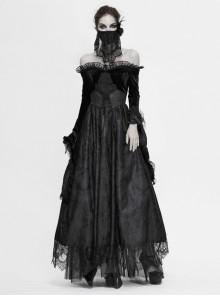 Off-Shoulder Fur Collar False Belt Back Lace-Up Lace Hem Black Gothic Formal Dress