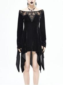 Off-Shoulder Positioning Flower Lace Embroidery Long Sleeve Black Gothic Dense Velvet Dress