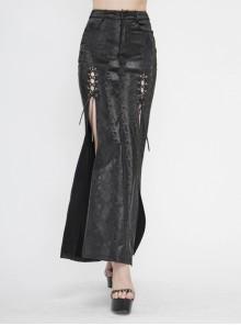 Black Snake-Like Leather Side Slit Hem Lace-Up Rivet Punk Long Skirt