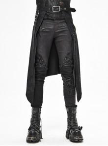 Fog Flower Print Pattern Waistband Asymmetrical Hem Side Lace-Up Black Punk Kilt
