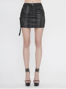 Snake-Like Leather Side Splice Mesh Leather Loop Rivet Black Punk Tight Skirt