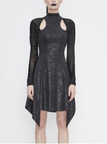 Cracked Knit Flocked Printed Mesh Long Sleeve High Collar Pointed Hem Black Punk Dress