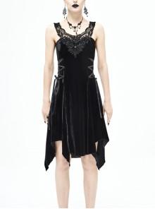 Half-Hollow Collars 3D Beading Side Lace Lace-Up Irregular Sharp-Angled Hem Black Punk Dress