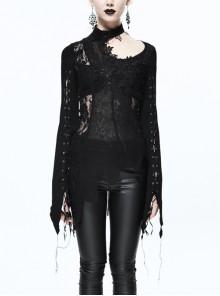 Woolen Splice Rose Mesh Chest Hollow Applique Asymmetric Lace Hem Black Gothic Sweater